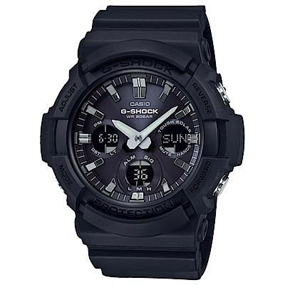 G-SHOCK 太陽能金屬3D雙顯運動錶(GAS-100B-1A)-黑/52.5mm
