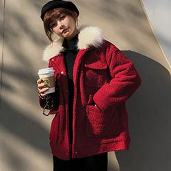 慵懶風拼接大毛領羊羔絨外套 (共二色)-Kugi Girl
