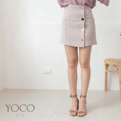 東京著衣-YOCO 青春校園格紋造型排釦A字短裙-S.M.L(共兩色)