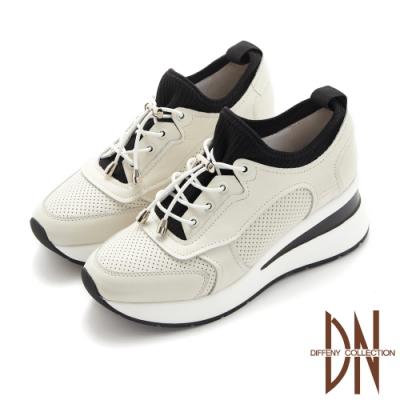 DN休閒鞋_真皮拼接彈力布繫帶造型厚底休閒鞋-米白
