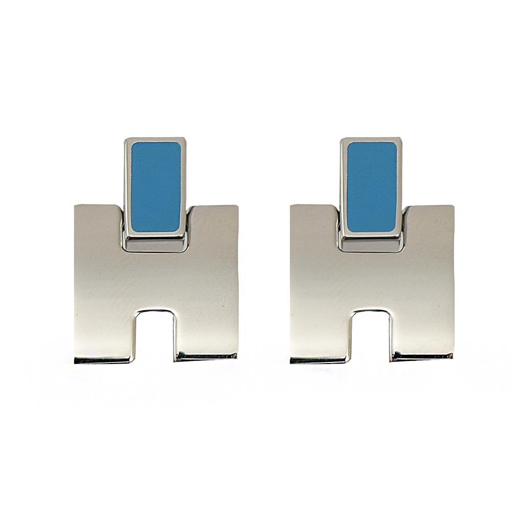 HERMES Eileen LOGO造型耳環(銀/天堂藍)