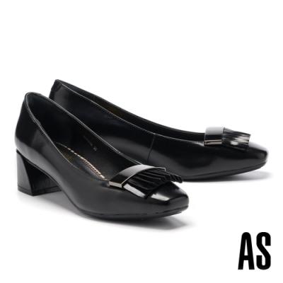 高跟鞋 AS 復古學院風流蘇造型牛皮方頭高跟鞋-黑