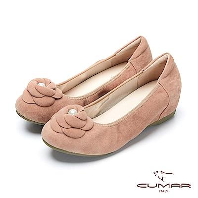 CUMAR簡約步調 - 甜美風格花卉珍珠飾釦內增高平底包鞋