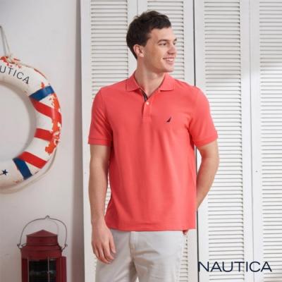 Nautica經典款素色短袖POLO衫-橘紅