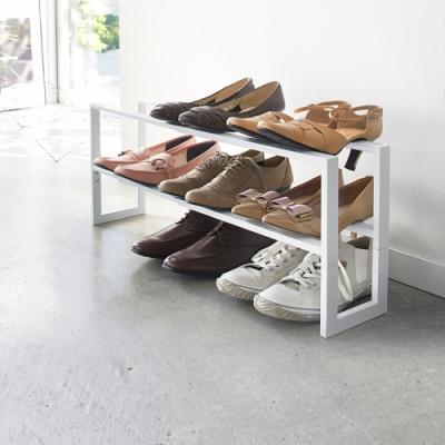 日本 YAMAZAKI-LINE伸縮式三層鞋架(白)★日本百年品牌★居家收納/玄關/鞋架