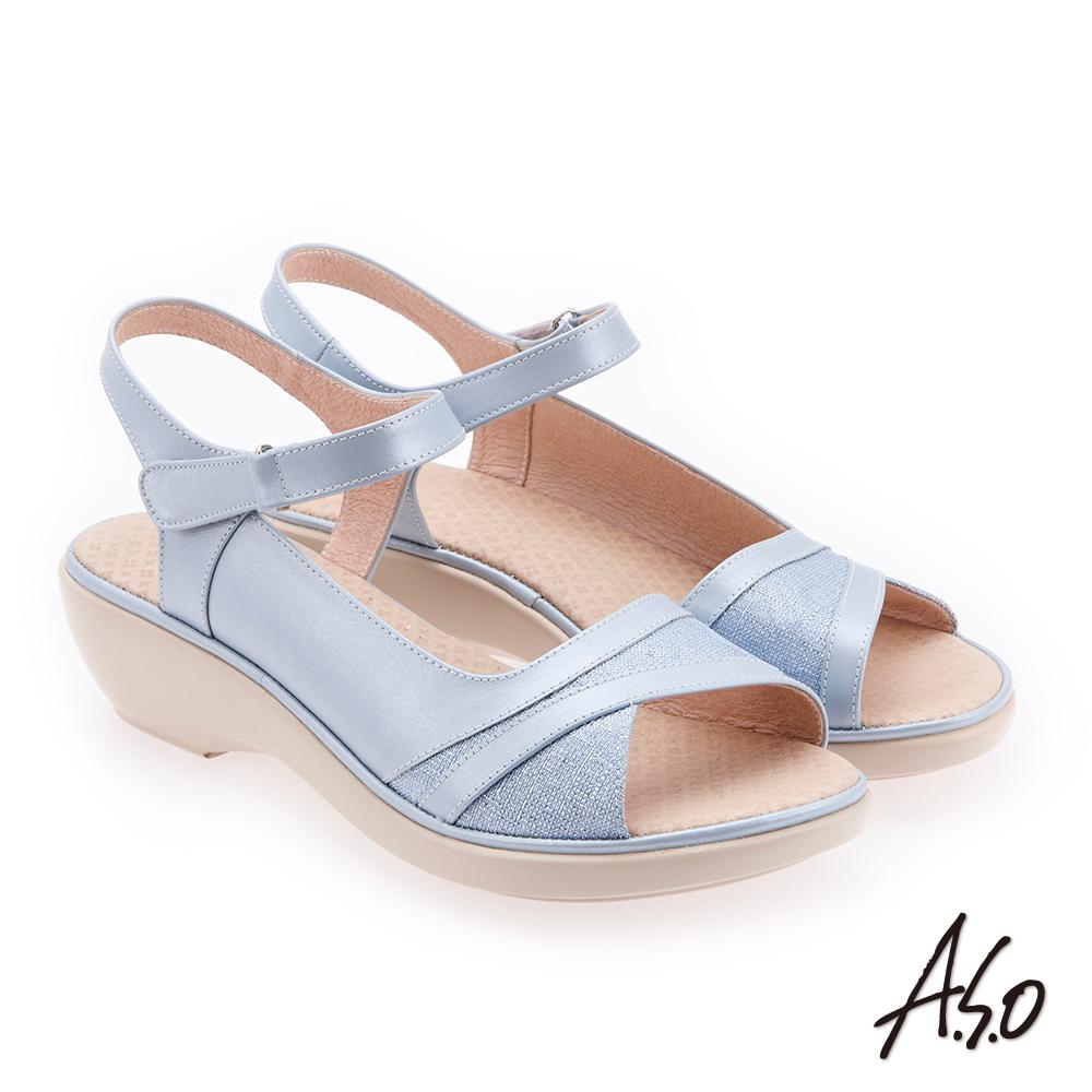 A.S.O 挺麗氣墊 布紋拼接全真皮抗菌奈米鞋墊氣墊涼鞋 淺藍