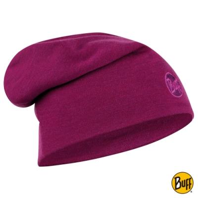 【西班牙BUFF】 耐寒-美麗諾羊毛精靈帽-深邃桃紅