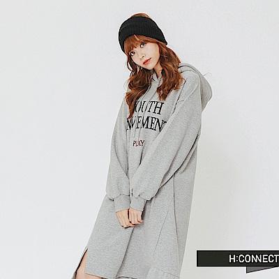 H:CONNECT 韓國品牌 女裝-印字棉質連帽洋裝-灰