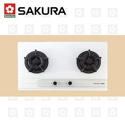 櫻花牌 SAKURA 白色二口小面板易清檯面爐 G-2522G 桶裝瓦斯 限北北基配送