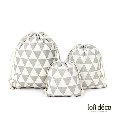 Loft Deco | Gray triangle | 束口袋三件套