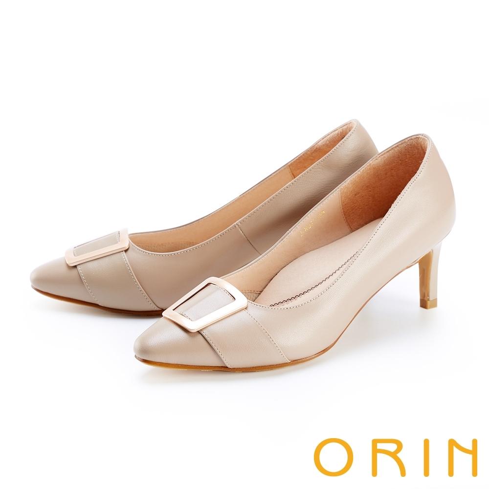 ORIN 金屬釦環羊皮尖頭 女 高跟鞋 裸色