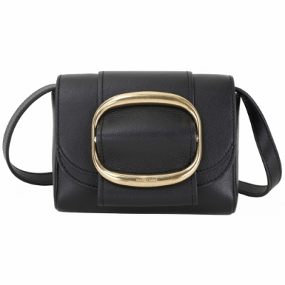 SEE BY CHLOE Hopper 迷你款 金屬環釦飾牛皮斜背包(黑色)