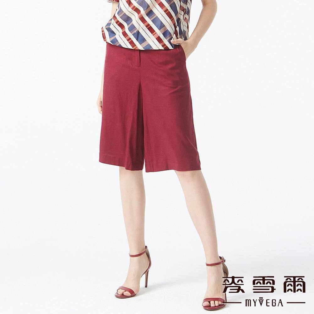 MYVEGA麥雪爾 素面亞麻五分寬褲-棗