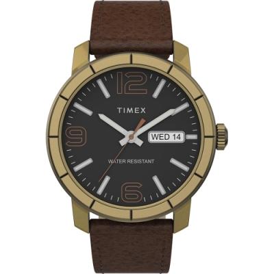 TIMEX 天美時 風格系列 經典紳士手錶- 黑x咖啡/44mm