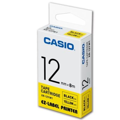 CASIO 標籤機專用色帶-12mm【共有9色】黃底黑字-XR-12YW1