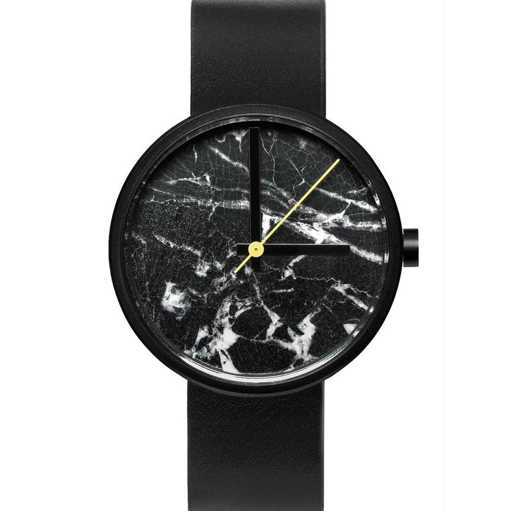AÃRK 時尚大理石黑真皮革腕錶 /黑38mm