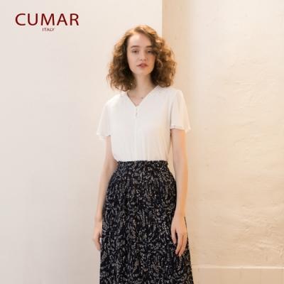 【CUMAR】蕾絲拼接-女短袖襯衫 (二色/版型適中)