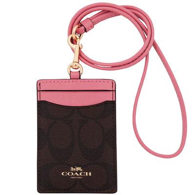 COACH 玫瑰粉色大C PVC識別證件夾