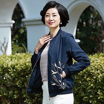 古典刺繡風格棒球外套XL~4XL(共二色)-理子時尚