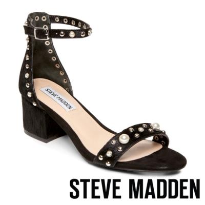 STEVE MADDEN-ISABEL 質感馬毛個性鉚釘珍珠粗中跟涼鞋-黑色