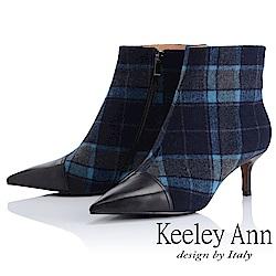 Keeley Ann 率性街頭~經典格紋拼接尖頭細跟靴(黑色-Ann)