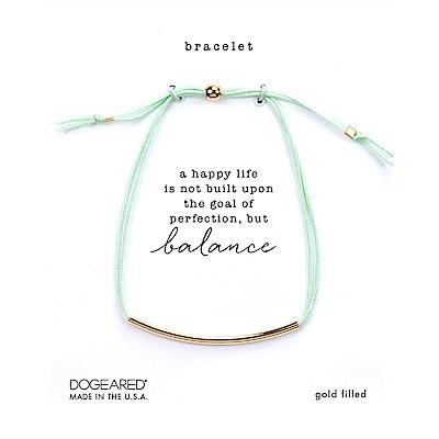 Dogeared BALANCE 平衡骨手鍊 金色亮面墜 嫩綠色防水繩手鍊 可調式