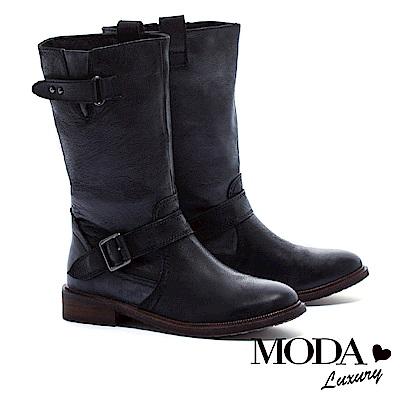 中筒靴 MODA Luxury 經典牛仔雙繫帶造型擦色牛皮低跟中筒靴-黑