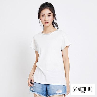 SOMETHING 燙箔質感圓領短袖T恤-女-白色