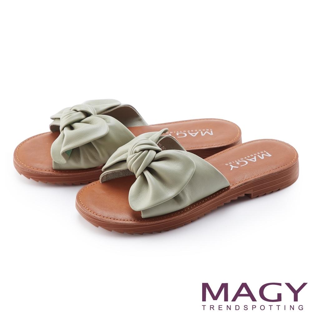 MAGY 大蝴蝶結造型真皮平底 女 拖鞋 綠色
