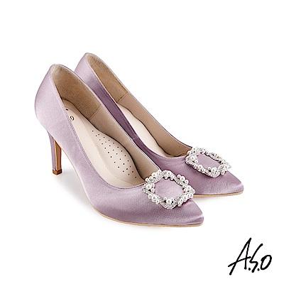 A.S.O 璀璨宴會細緻光澤緞面珍珠飾扣高跟鞋淺紫