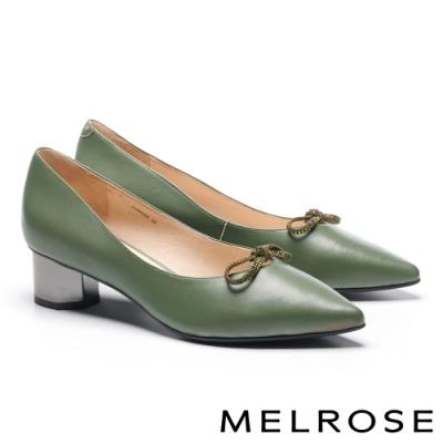 高跟鞋 MELROSE 簡約氣質晶鑽蝴蝶結羊皮尖頭造型粗高跟鞋-綠