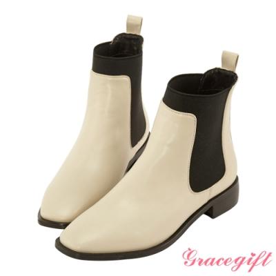 Grace gift-方頭側鬆緊帶短靴 米白