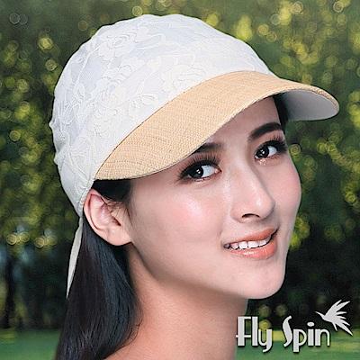 FLYSPIN 女款拉菲草編眉蕾絲透氣半頂式空心帽