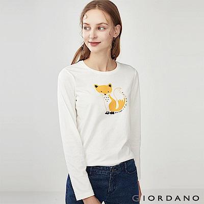 GIORDANO 女裝趣味動物印花長袖T恤-41 皎雪
