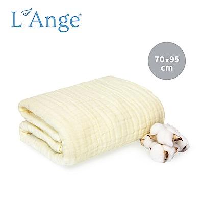 L'Ange 棉之境 6層純棉紗布浴巾/蓋毯 70x95cm-黃色
