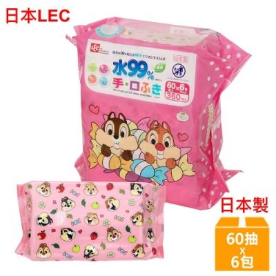 日本LEC 迪士尼奇奇蒂蒂-口手專用純水99%濕紙巾-60抽x6包/組