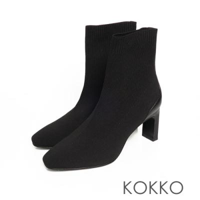 KOKKO激瘦感方頭彈性針織扁跟短襪靴霧面黑