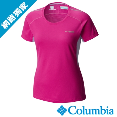 Columbia 哥倫比亞女款-鈦 防曬15涼感快排短袖上衣-紫紅UAR19820