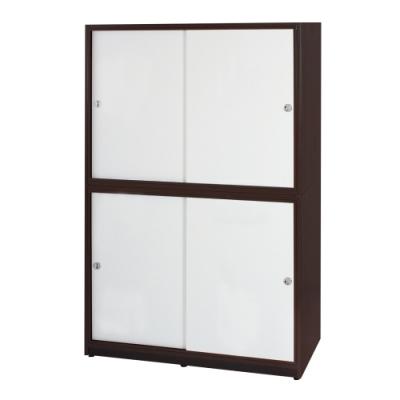 文創集 卡森環保4.1尺塑鋼推門四吊桿衣櫃/收納櫃(四色)-124x61x200cm免組