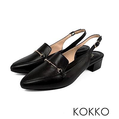 KOKKO - 迷濛眼神真皮後拉帶尖頭粗跟鞋-精緻黑