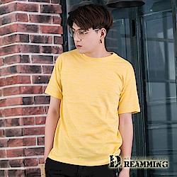 Dreamming 混色繽紛夏日彈力休閒圓領短T-黃色
