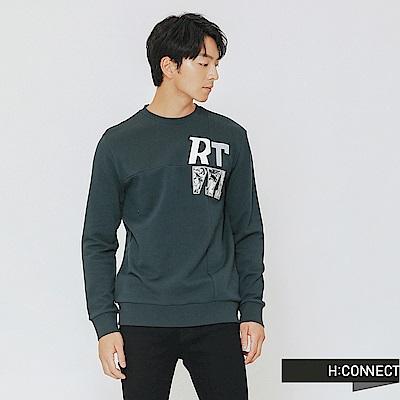 H:CONNECT 韓國品牌 男裝-簡約文字拼接上衣-綠