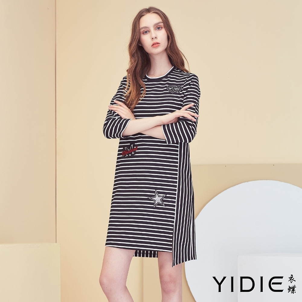 【YIDIE衣蝶】雙心直橫條紋短洋裝