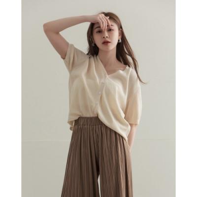 Shester55-開襟麻感針織衫(二色)-女【XSH125】