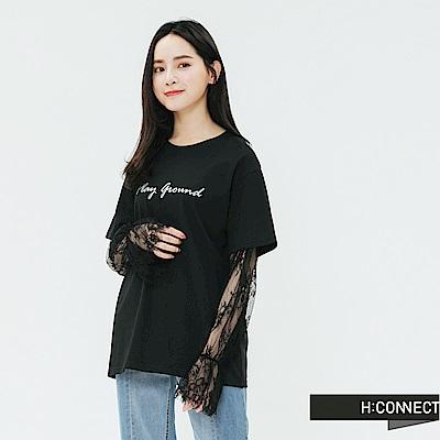 H:CONNECT 韓國品牌 女裝-網紗拼接袖造型上衣-黑