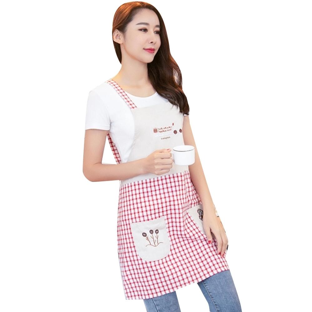 COMET 日式格子純棉圍裙(W02)