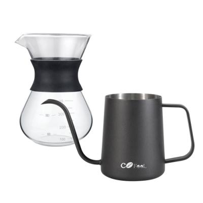 CoFeel 凱飛玻璃濾杯咖啡壺400ml+不鏽鋼咖啡手沖壺細嘴壺600ml