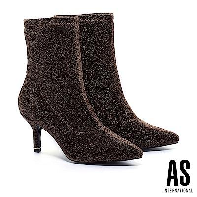 襪靴 AS 華麗暗黑金蔥尖頭高跟襪靴-金