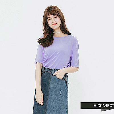 H:CONNECT 韓國品牌 女裝-素面圓領T-shirt-紫