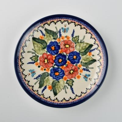 波蘭陶 夢蝶游春系列 淺底圓形餐盤 19cm 波蘭手工製